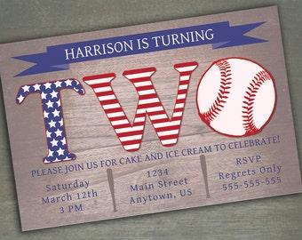 Baseball Birthday Invitation - 2nd Birthday or 1st Birthday Customized Invitation