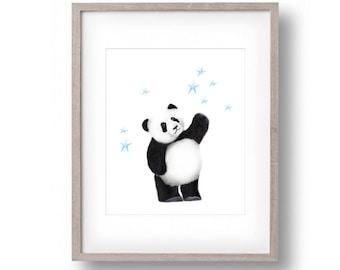 Panda Bear Nursery, Blue Nursery, Stars, Childrens Artwork, Baby Wall Art, Boy Nursery, Nursery Wall Decor, Panda Painting, Bear Nursery