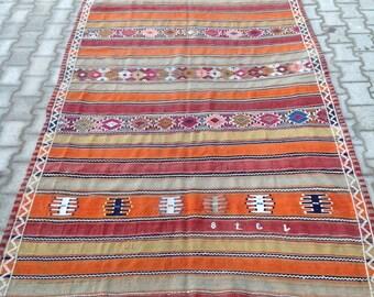 Items Similar To Vintage Turkish Kilim Rug Carpet