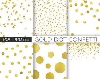 Gold dot confetti digital paper polka dots sparkle Christmas gold foil shine metallic glitter scrapbook invitation printable background