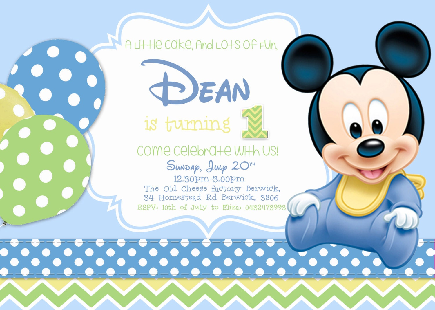 SALE Baby Mickey Birthday InvitationBoy Birthday Mickey – Baby Mickey First Birthday Invitations