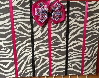 Zebra and Pink Hair Bow Holder