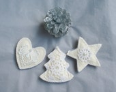 Christmas felt ornament, set of 3, with lace, vintage, shabby elegance, white, Christmas tree, star, heart, Christmas tree ornament