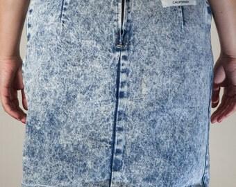 1980s Michael B acid wash denim skirt