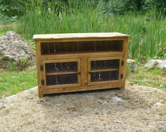 Rustic Pallet TV stand, chicken wire doors, Sideboard, reclaimed wood, shabby chic, media stand, credenza stand