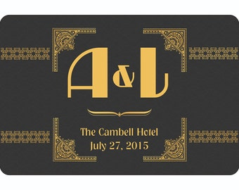12 Custom Wine Labels Art Deco for Weddings or Congrats (Reduced Price for Even Larger Quantities) - 55857D