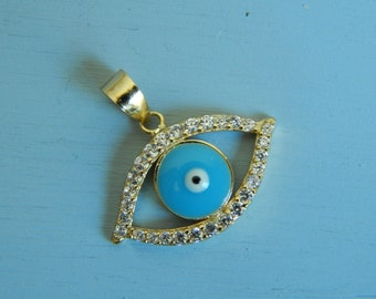 Evil eye pendant, gold vermeil, cubic zirconia, sterling silver, charm, pendant, mother of pearl