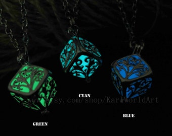 Wish tree Cube glow in the dark necklace,glow pendant necklace,Halloween jewelry, Christmas Gift