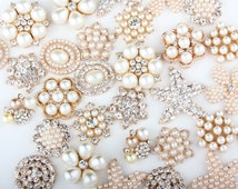 20pcs Metal Pearl Rhinestone Gold Flatback Crystal Mixed Lot, Embellishment/ Craft Making/ Scrap Booking/ Wedding Bridal Accessories