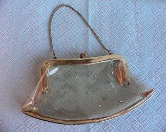 1950s Vintage Clear Plastic Handbag with Rhinestones