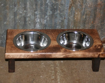 Rustic Elevated Small Pet Dog Cat Bowl Stand