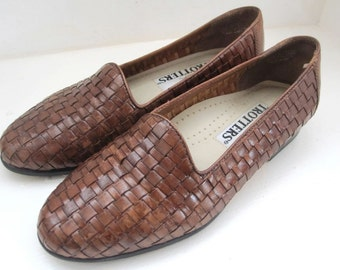 Vintage 80s 90s Trotter's Brown Woven Leather Flats Loafers Made in Brazil - Size 5 M