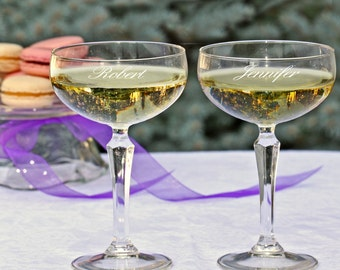 Personalized Champagne Coupe Toasting Flutes (e183-1602) - Free Personalization
