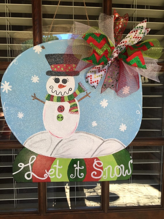 Christmas Door Decorating Ideas Snow Globe : Items similar to snowman quot let it snow globe door