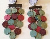 Vintage Clip on Earrings,Metallic Disks