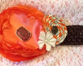 Orange silk flower headband