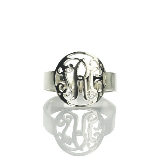 personalized monogram ring sterling silver circle by