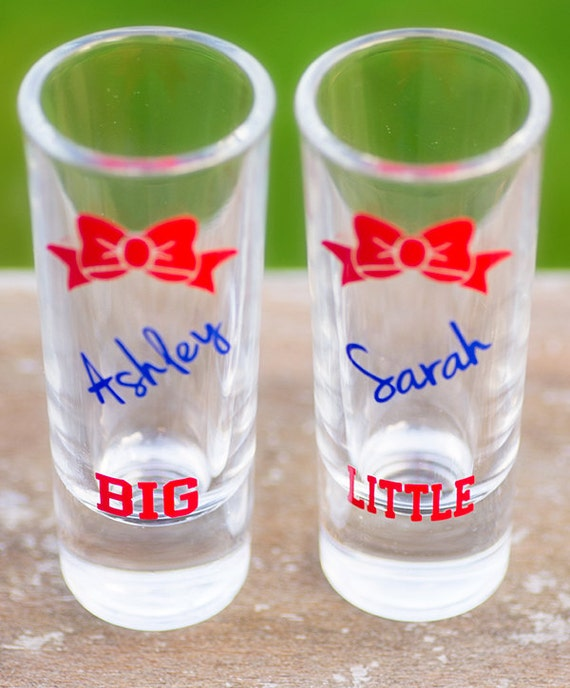 big little gbig sorority shot glasses dark red bows king. Black Bedroom Furniture Sets. Home Design Ideas