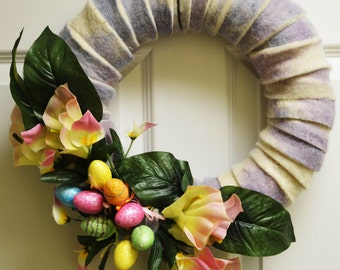 Beautiful wreath decoration for Easter/Spring season.
