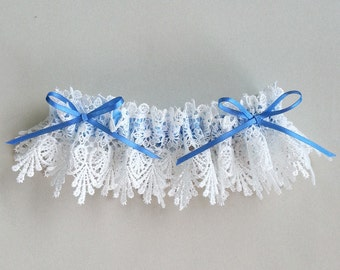 Bridal garter blue bows - white venise lace, something blue satin bows - Mirabella
