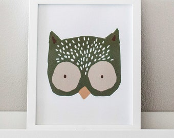 Owl Hand Drawn Printable Wall Art for Gender Neutral Woodland Forest Nursery (Green)
