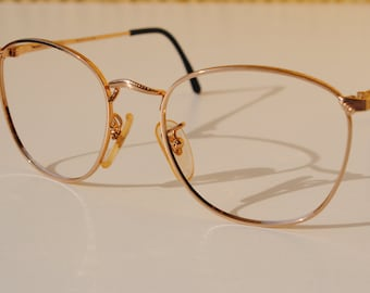 vintage LINEA DANTE c.105 Mod.0025  51-18  gold plated ornate rounded  P3 eye / sunglasses frame made in Italy New