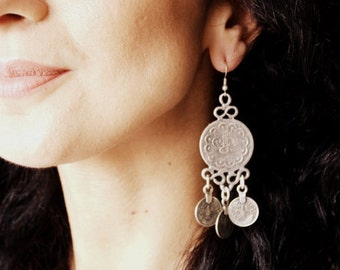 OTTOMAN EARRINGS / / silver plated earrings / / Tuğra / Turkish/coin/jewelry drop earrings / round / boho/Gypsy/Christmas / for her