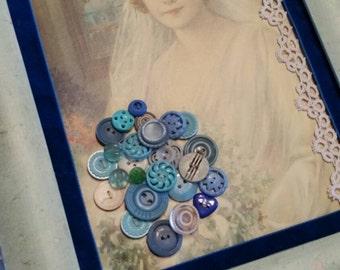 Vintage 1940's Something Blue Button Collection Framed