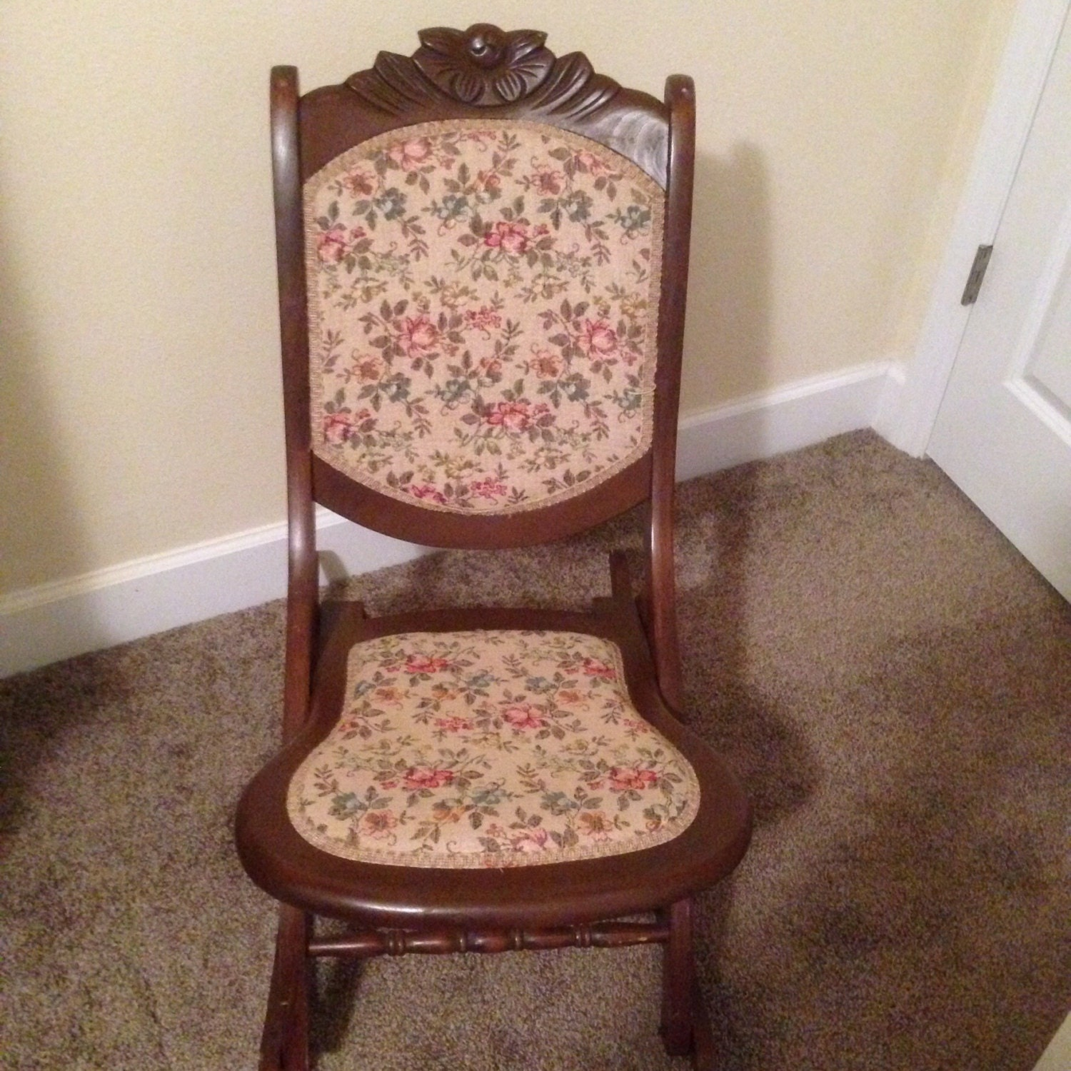 Antique folding rocking chair solid wood and tapestry