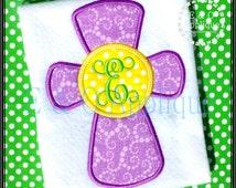 Cross Monogram Applique Design - Cross Applique Design - Easter Cross Applique