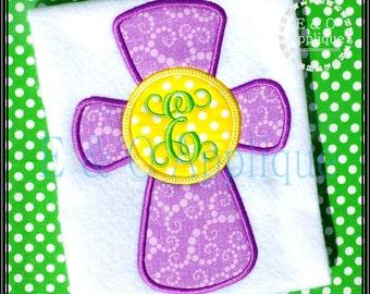 Cross Monogram Applique Design - Cross Applique Design - Easter Cross Applique - Cross Embroidery Design - Monogram Cross Applique Design