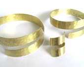 Hand hammered jewelry set-Upper arm bracelet-Bracelet-Ring-Gold jewelry-Hand hammered-Gift for her-Love gift-Handmade jewelry-Greek jewelry