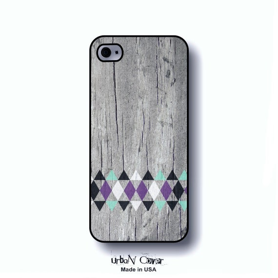 Geometric phone case iPhone 5, purple and Mint triangles, tribale wood phone cover, printed wood iPhone case (0032.5)