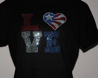 Rhinestone Love Heart America 4th of July T-Shirt