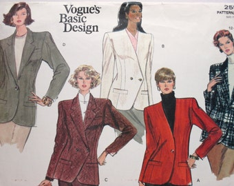 Vogue's Basic Design 2554 ~ Professional Blazer and Suit Jacket Collection SIZE 12-14-16 UNCUT Sewing Pattern