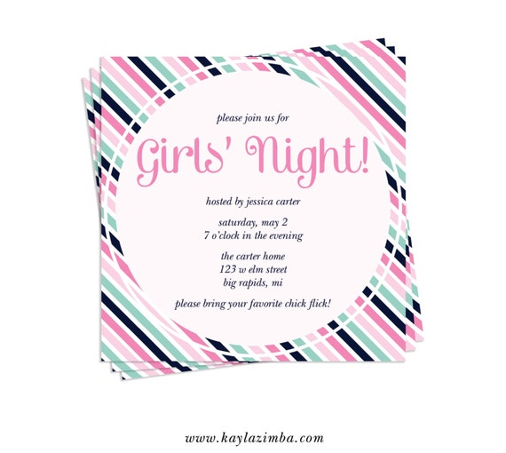 Girls Movie Night Girls' Night Invitation Girls