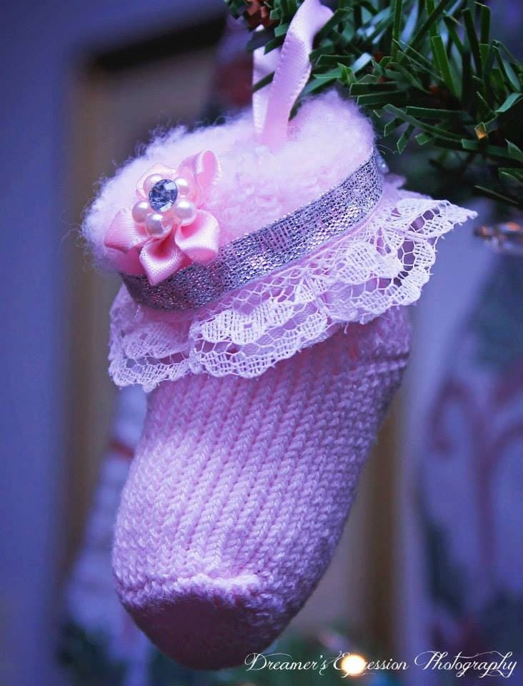 Pretty in Pink Christmas Ornament; Pink Newborn Booties Ornament; Baby Booty Christmas Ornament
