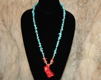 Turquoise and Red Coral Necklace and Coral Earrings