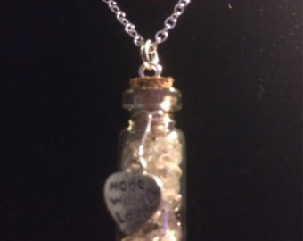 Rutilated Quartz Filled Tiny Glass Vial Pendant with Sterling Silver Chain