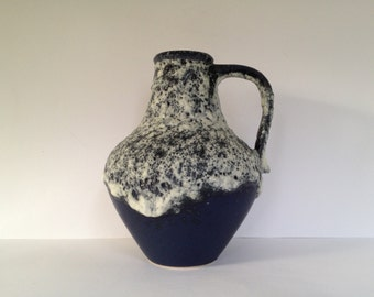 "Dümler & Breiden Keramik 1970's WGP pottery glaze ,,Lava Blue"" vase , designer: Rudolf Kügler, West Germany."