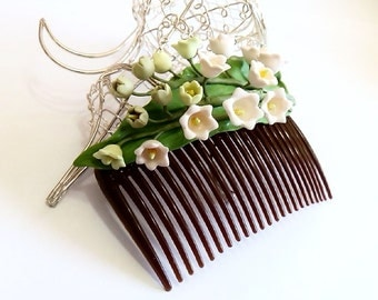 Lily of the valley hair comb, Wedding Comb, Flowers Hair Comb, Wedding accessory,  Flower Girl Comb, Bridesmaid Hair Comb