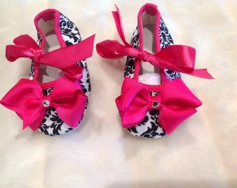 Pink and Black damask baby shoes