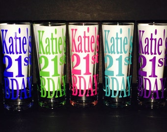 """Set of 5 Personalized """"21st BDAY"""" shot glasses!! Your choice of colors!! Great for Birthday Parties and Girls Night Out!!! Set of 5!!!"""