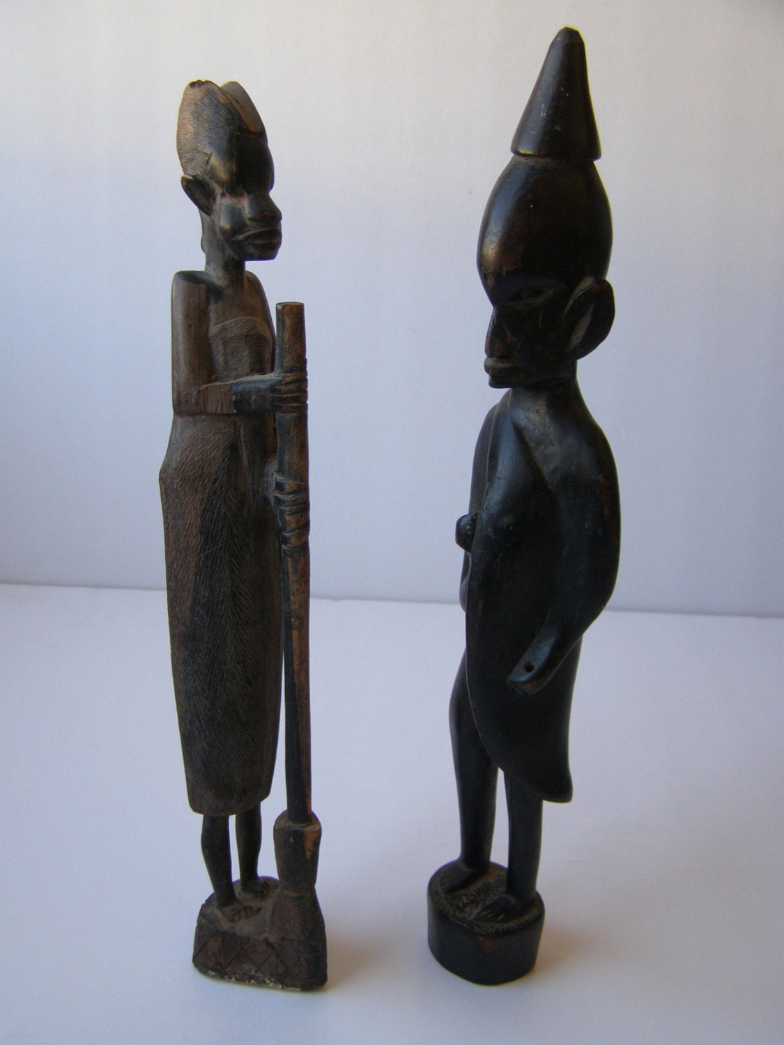 Man woman african hand carved art wood figurines gr