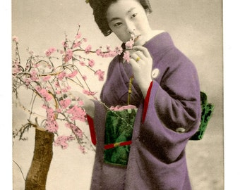 Japanese Geisha Victorian Postcard Hand Tinted 1900s Flowers Blossom Japan Woman