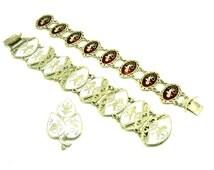 Siam Silver & Enamel Bracelets (2 of) and Brooch, Dancing Figures, Jewellery, Jewelery, Costume, REF:236E