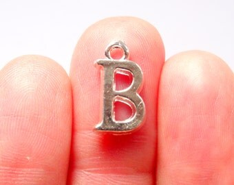 "8 Alphabet Letter ""B"" Charms Silver Plated 16x9mm - SC234"