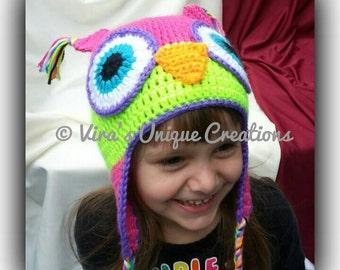 Crochet toddler owl hat, crochet hat, crochet toddler hat, owl hat, toddler hat, girl owl hat, boy owl hat, made-to-order