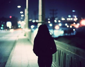 A Girl in Berlin Portrait Photography Art Print - Boho Berlin Picture - Lonely Girl in the Night Photography
