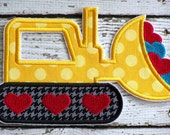 Valentine's Day Bulldozer Iron On Or Sew On Applique